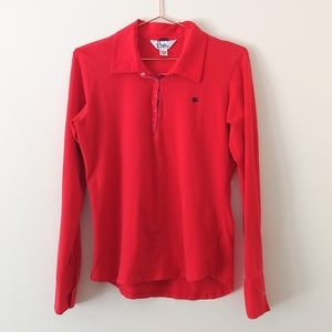 Lilly Pulitzer red snap front long sleeve polo
